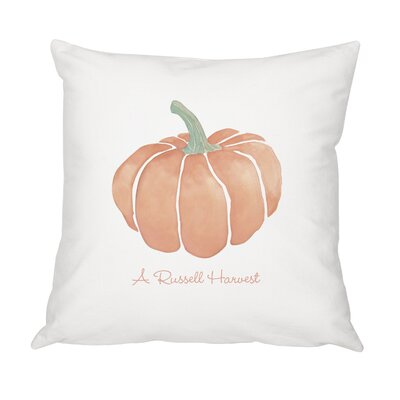 Personalized Harvest Pumpkin Cotton Throw Pillow
