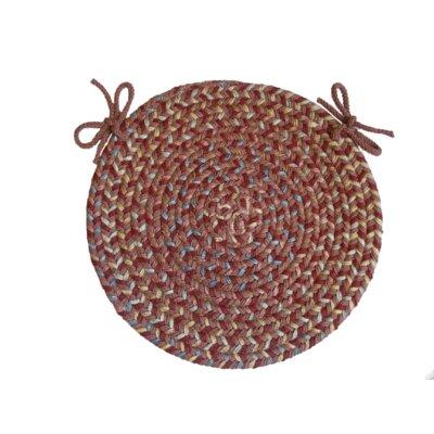 RhodyRug Blossom Round Chair Pad - Color: Terracotta