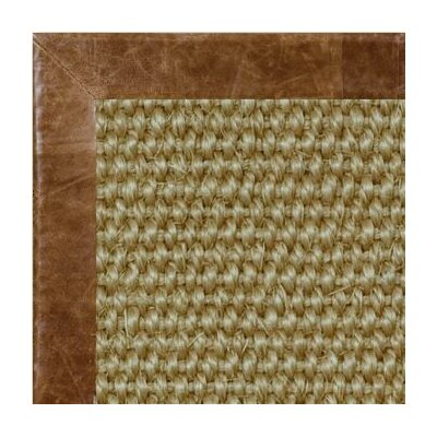 Paradise Retreat Jumbo Boucle Distressed Leather Nutmeg Bordered Area Rug Rug Size: 9 x 12