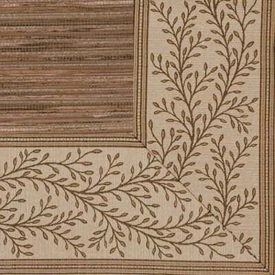 Cheena Dynasty Latte Vine Bordered Area Rug Rug Size: 710 x 10