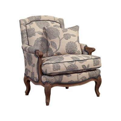 Carved Wood Accent Armchair