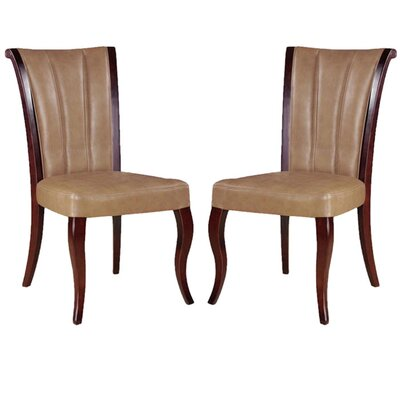 Low Price International Design Side Chair (Set of 2) Upholstery: Leather – Tan