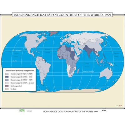 World History Wall Maps - Independence Dates for Countries of the World