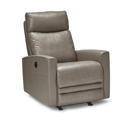 Chance Leather Power Rocker Recliner Upholstery: Chocolate