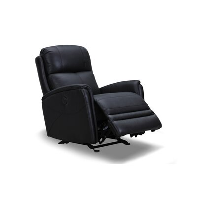 Vance Leather Power Rocker Recliner Upholstery: Black