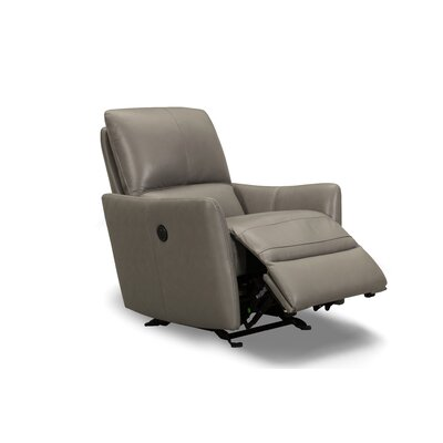 Yana Leather Recliner Upholstery: Gray