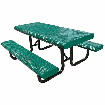 Radial Picnic Table Finish: Green, Table Size: 96 W x 63 D
