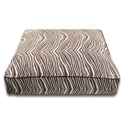 Rectangle Dog Pillow with Easy-Wash Cover Size: Large (44 L x 34 W), Color: Brown Zebra