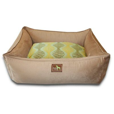 Spirals Easy-Wash Cover Lounge Donut Dog Bed Size: Large (44 L x 34 W), Color: Camel
