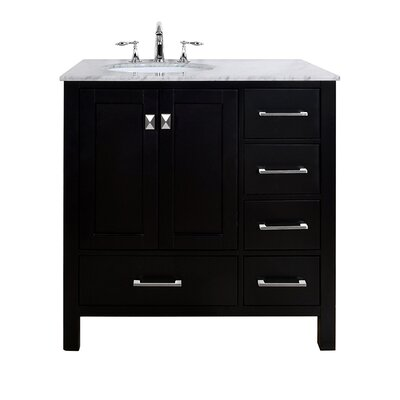 "Stufurhome Malibu 36"" Single Bathroom Vanity Set - Base Finish: Espresso"