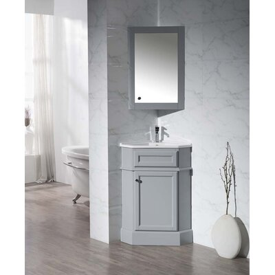 Rocher 26.5 Single Corner Bathroom Vanity Set with Mirror Base Finish: Grey