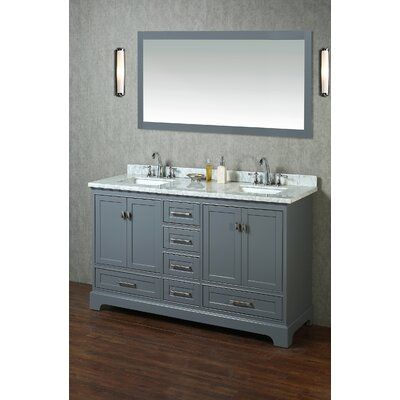Stian 60 Double Sink Bathroom Vanity Set with Mirror Base Finish: Gray