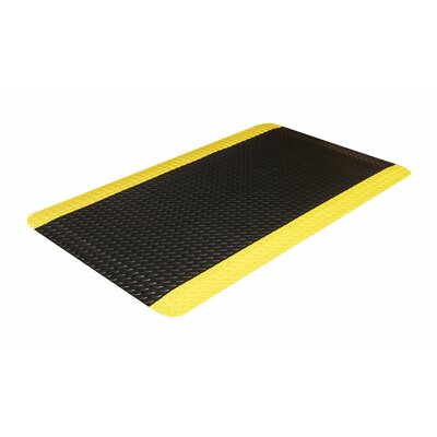 Industrial Doormat Color: Black with Yellow Border, Size: 36 x 60