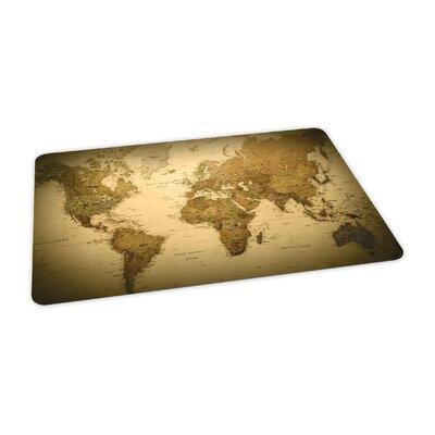 """World Map Design Chair Mat Size: 36"""" x 48"""" Rectangular, Beveled, .110, Carpet 118679"""