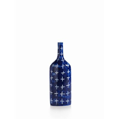 Yahto 14.75-inch Tall Porcelain Blue Cross Decorative bottle CH-4009