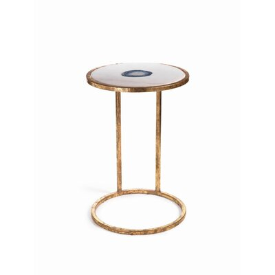 Aquarius 20-inch Tall Marble and Inlaid Agate End Table