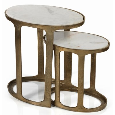 Mackie Oval Marble and Raw Aluminum 2 Piece Nesting Tables