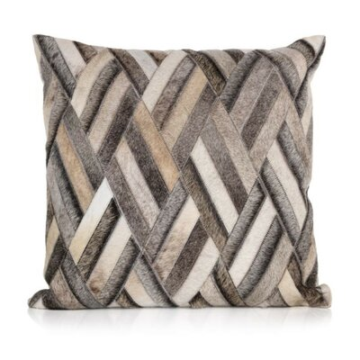 Gannon Woven Hair on Faux Leather Throw Pillow