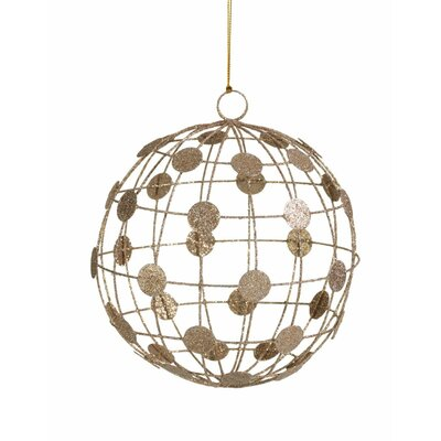 Champagne Dots on Wire Pattern Christmas Ball Ornaments Color: Champagne