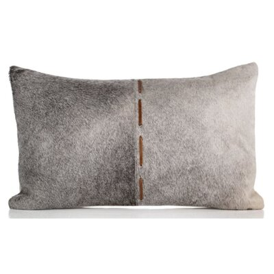 Gannon Hair on Faux Leather Lumbar Pillow
