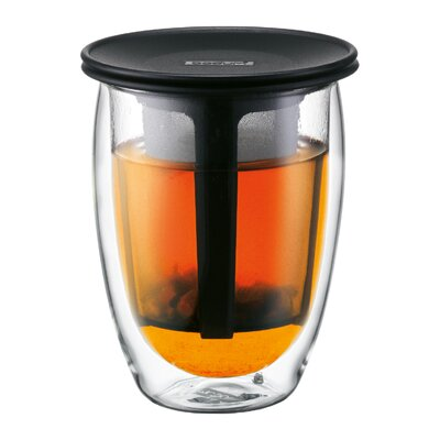 Tea for One Double Wall Glass with Strainer in Black