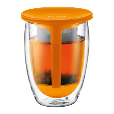 Tea for One Double Wall Glass with Strainer in Orange