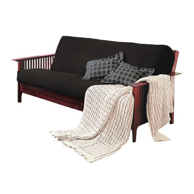 Levinsohn Box Cushion Futon Slipcover Upholstery: Black