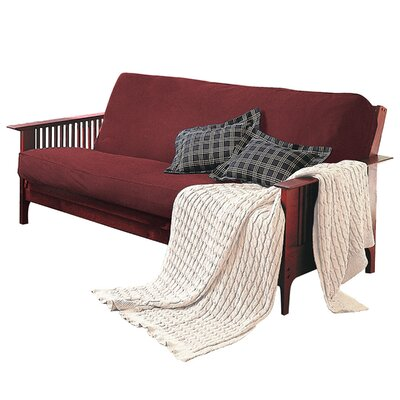 Levinsohn Box Cushion Futon Slipcover Upholstery: Ming Red