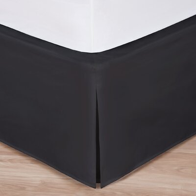 Rolande Wraparound Tailored Bed Skirt Size: King, Color: Black