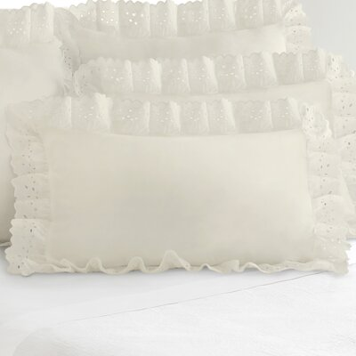 Fresh Ideas Eyelet Sham (Set of 2) Size: King, Color: Ivory
