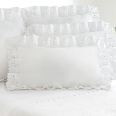 Colan Eyelet Sham (Set of 2) Size: King, Color: White