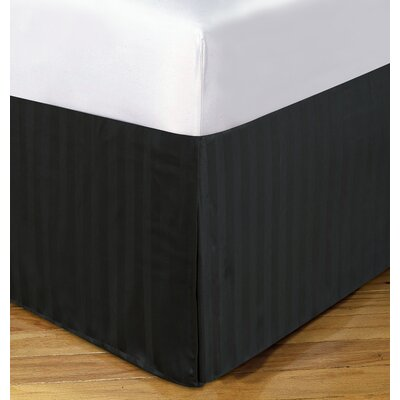 Damask Stripe Tailored 500 Thread Count Bed Skirt Size: King, Color: Black