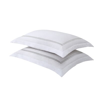Luxury Hotel Baratta Stitch Tailored Microfiber Sham Size: Standard, Color: White / Silver