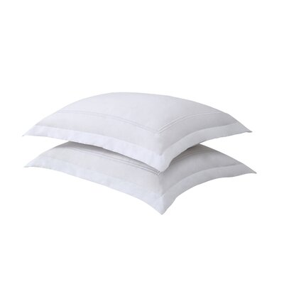 Luxury Hotel Baratta Stitch Tailored Microfiber Sham Size: Standard, Color: White / White