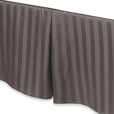 Damask Stripe Tailored 500 Thread Count Bed Skirt Size: Full, Color: Charcoal