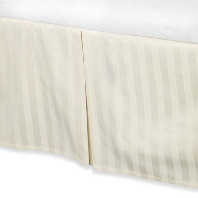 Damask Stripe Tailored 500 Thread Count Bed Skirt Size: Full, Color: Ivory