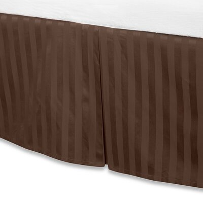 Damask Stripe Tailored 500 Thread Count Bed Skirt Size: King, Color: Chocolate