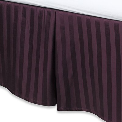 Damask Stripe Tailored 500 Thread Count Bed Skirt Size: Queen, Color: Purple