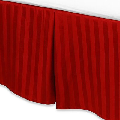 Damask Stripe Tailored 500 Thread Count Bed Skirt Size: Full, Color: Red