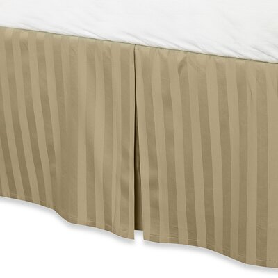 Damask Stripe Tailored 500 Thread Count Bed Skirt Size: Full, Color: Wheat