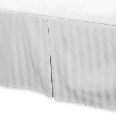 Damask Stripe Tailored 500 Thread Count Bed Skirt Size: California King, Color: White