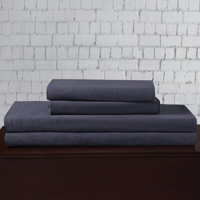Linen Blend Sheet Set Size: King, Color: Indigo