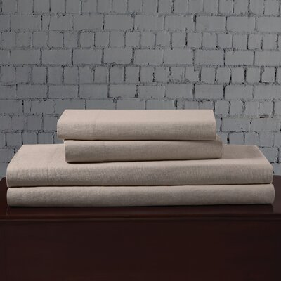 Linen Blend Sheet Set Size: Full, Color: Khaki