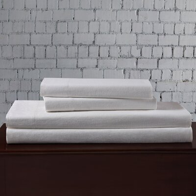Linen Blend Sheet Set Size: Full, Color: White