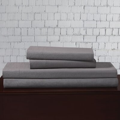 Linen Blend Sheet Set Size: California King, Color: Gray