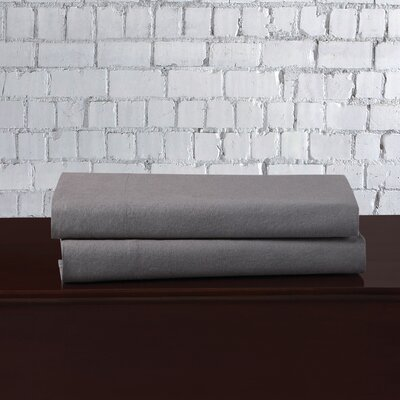 Linen Blend Pillowcase Size: Standard, Color: Gray