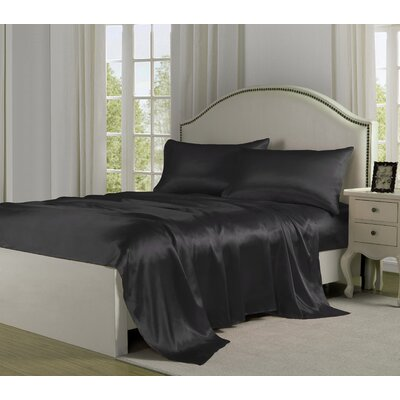 4 Piece 280 Thread Count Satin Sheet Set Size: King, Color: Black