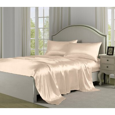 4 Piece 280 Thread Count Satin Sheet Set Size: Full, Color: Ivory