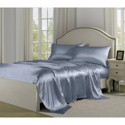 4 Piece 280 Thread Count Satin Sheet Set Size: King, Color: Silver