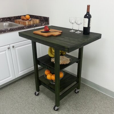 Folding Kitchen Cart Finish: Emerald